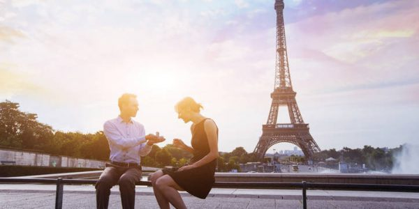 marry me, proposal at Eiffel Tower in Paris, beautiful silhouettes of young caucasian couple